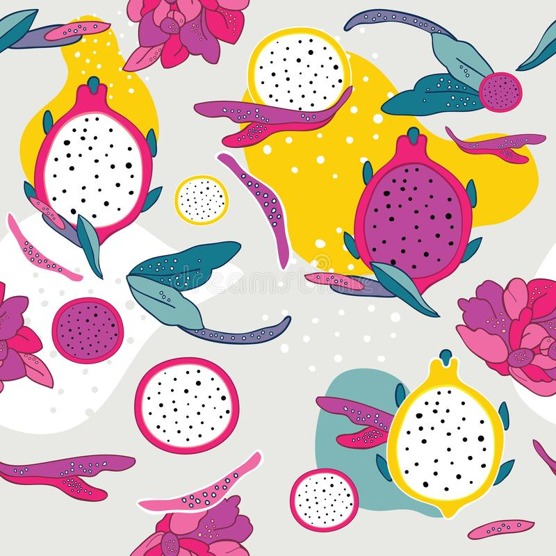 Exotic colorful tropical fruits Dragon fruit Pitaya Pitahaya Flowers and leaves Seamless background pattern stock illustration