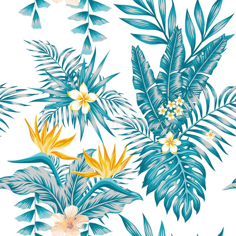 Exotic composition flowers and plants blue color scheme royalty free illustration