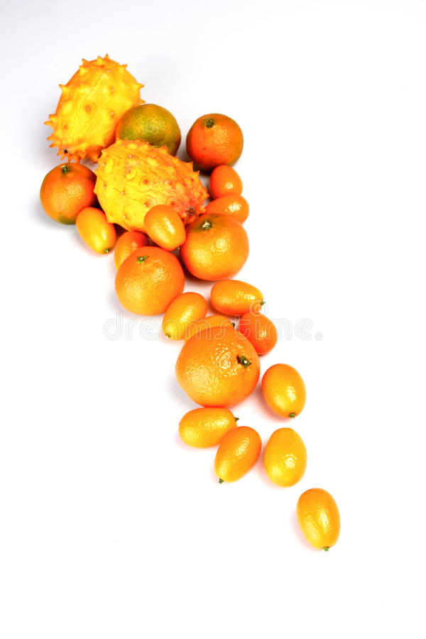 Exotic composition. Composition of exotic fruits o white background stock photos