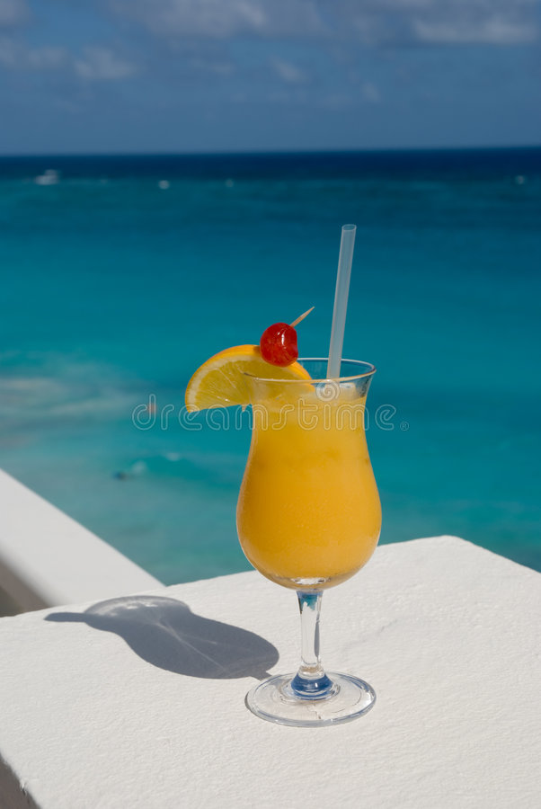 Exotic drink 2. Colorful drink with lemon at tropical resort stock photos