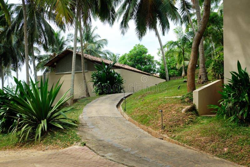 Exotic Dwelling Resort Hotel House Summer Vacation. Holiday Travel to Tropical Sri Lanka Island Condominium Apartment Residence. Thailand Recreation Residence royalty free stock photo