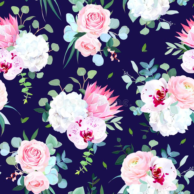 Exotic eastern style vector design seamless print. Navy blue dark winter floral pattern with white orchid, pink protea, white hydrangea, rose, ranunculus royalty free illustration