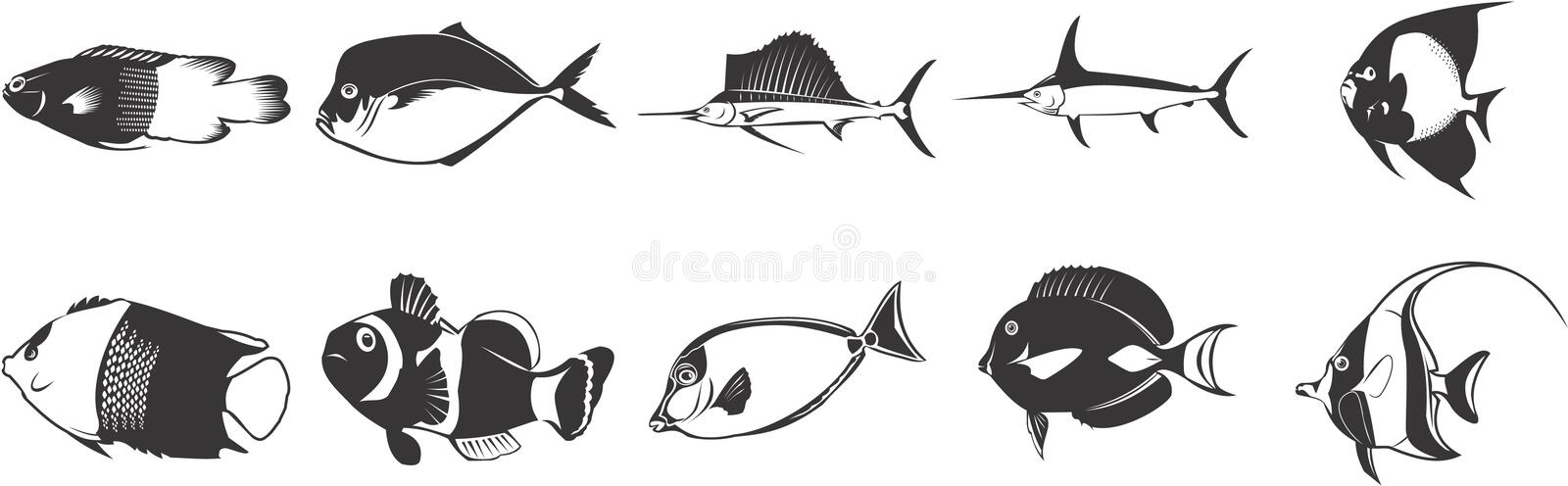 Download Exotic fish icons stock illustration. Image of variety - 5330700