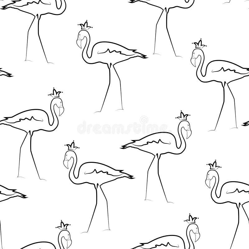 Line Art Crown : Exotic flamingo birds crown line drawing pattern stock