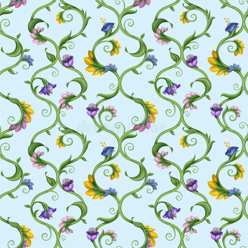 Seamless natural ornate floral pattern background royalty free illustration