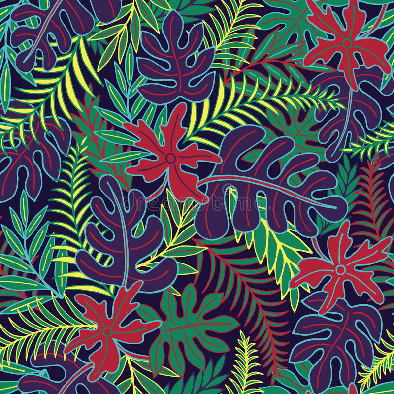 Exotic floral seamless pattern vector illustration