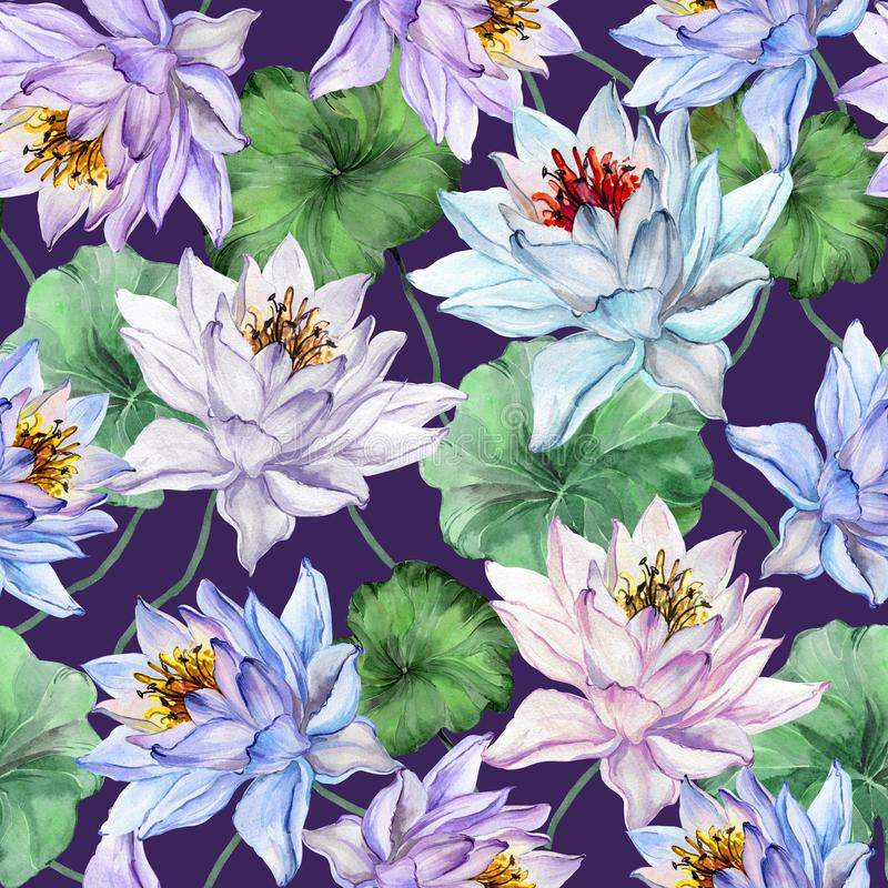 Exotic floral seamless pattern. Large blue, pink and lilac lotus flowers with green leaves on dark purple background. Hand drawn illustration. Watercolor vector illustration