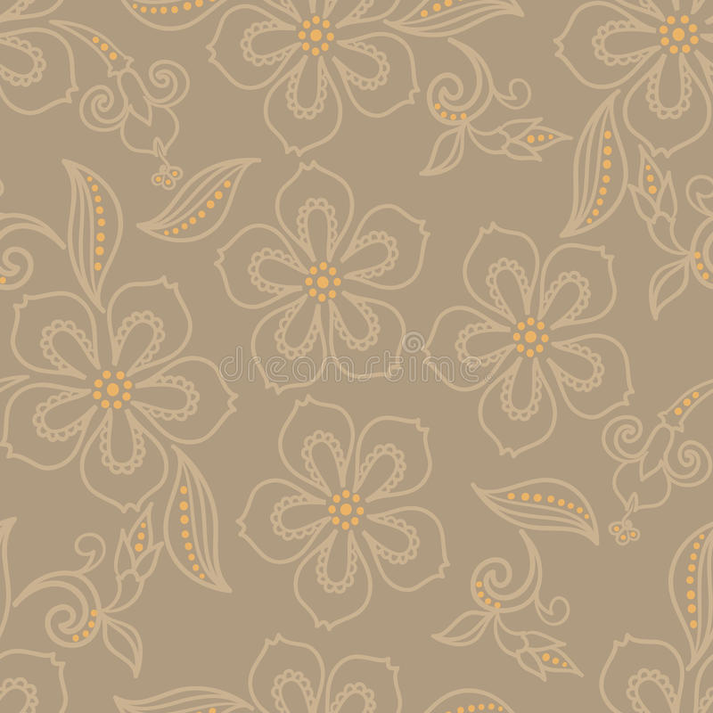 Exotic flower pattern. Seamless pattern of exotic flower stock illustration
