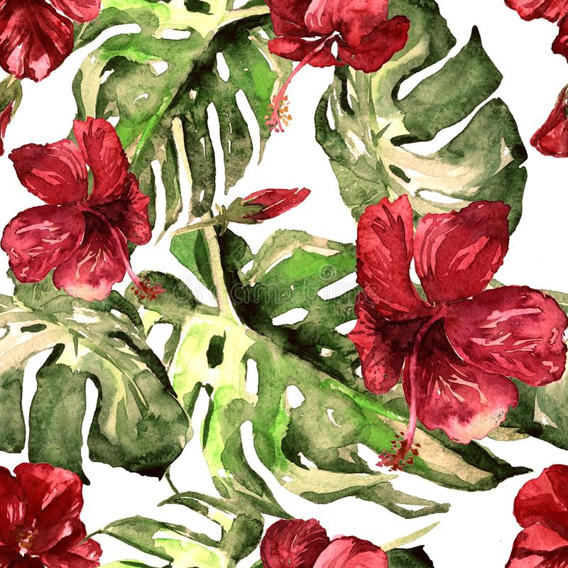 Watercolor Seamless Pattern. Hand Painted Illustration of Tropical Leaves and Flowers. Tropic Summer Motif with Hibiscus Pattern. Exotic Flowers Watercolor stock illustration