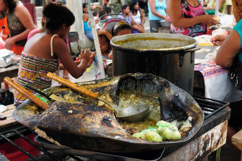 Exotic food in Iquitos in Amazonia royalty free stock image