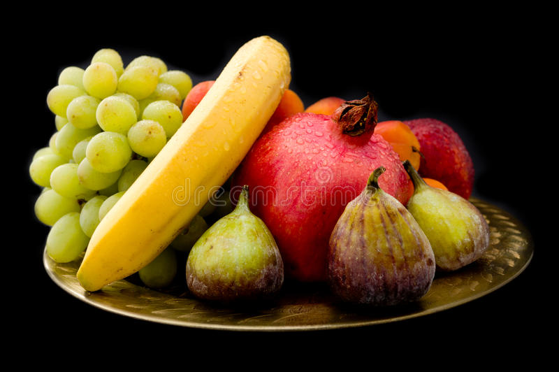 Download Exotic Food On Oriental Golden Plate (on Black) Stock Image - Image: 24920367