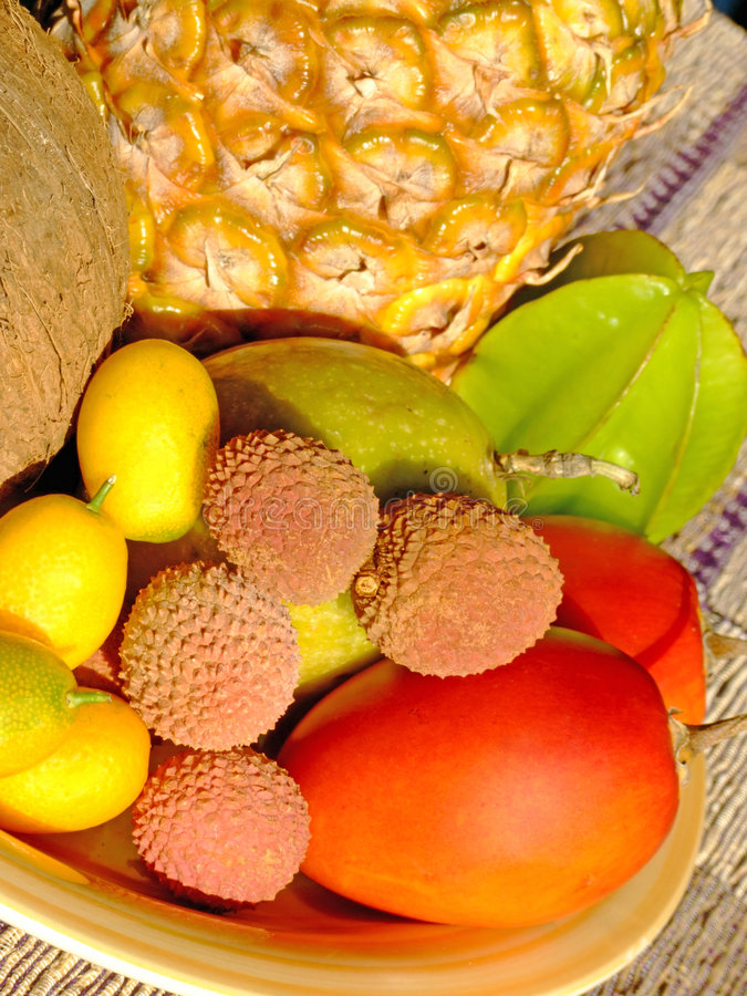 Exotic fruit. Mixed fresh exotic fruit composition stock photos