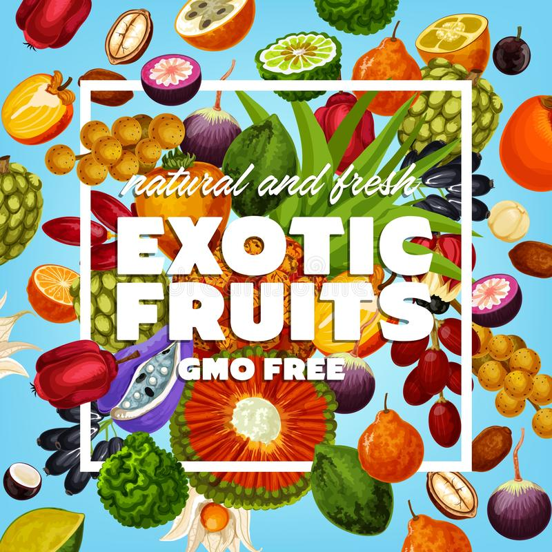 GMO free exotic fruits and berries stock illustration