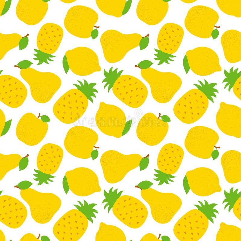 Exotic fruit seamless pattern. Sweet pineapple, pear and apple. Yellow lemon. Fashion design. Food print for dress, textile, royalty free illustration