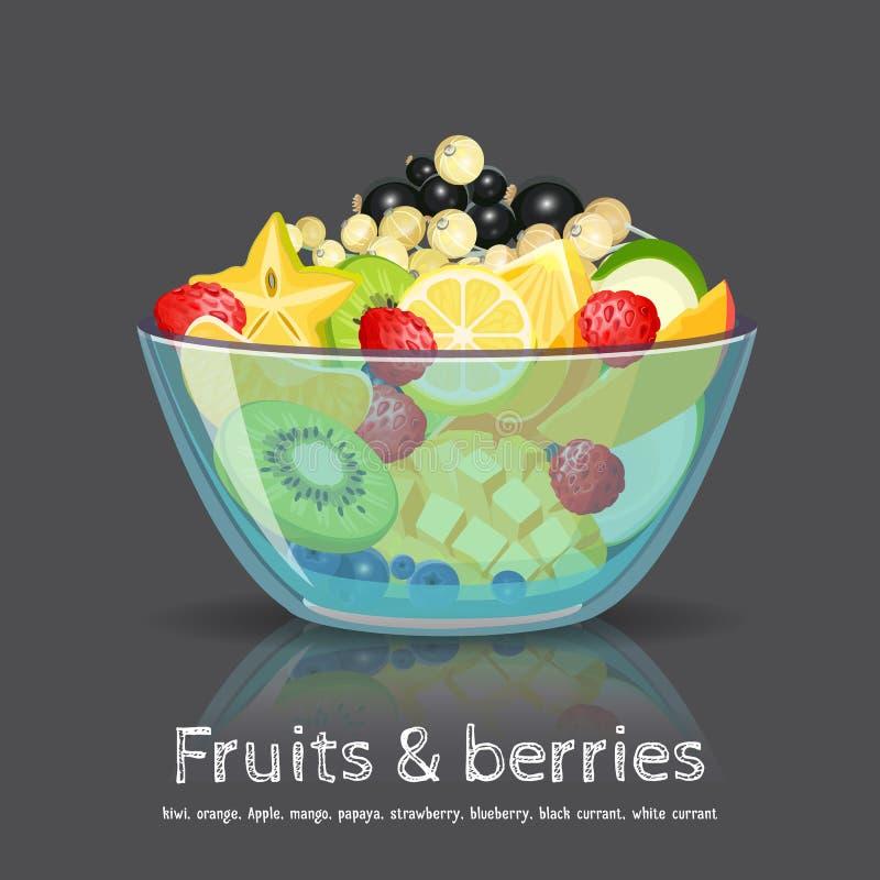 Full fruit salad glass bowl on black backdrop royalty free illustration