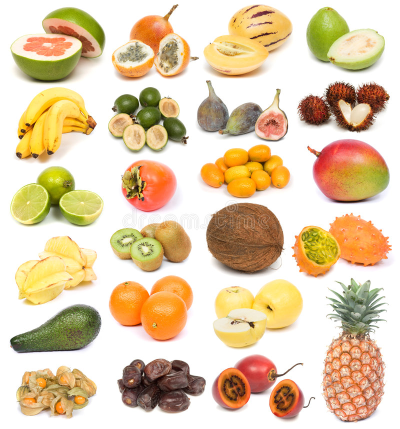 Exotic fruits. Image set of fresh ripe exotic fruits on white background. See larger versions of each image separately in my portfolio