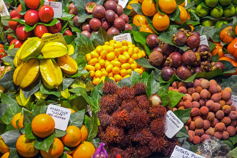Exotic fruits at the Boqueria. Market in Barcelona royalty free stock photo