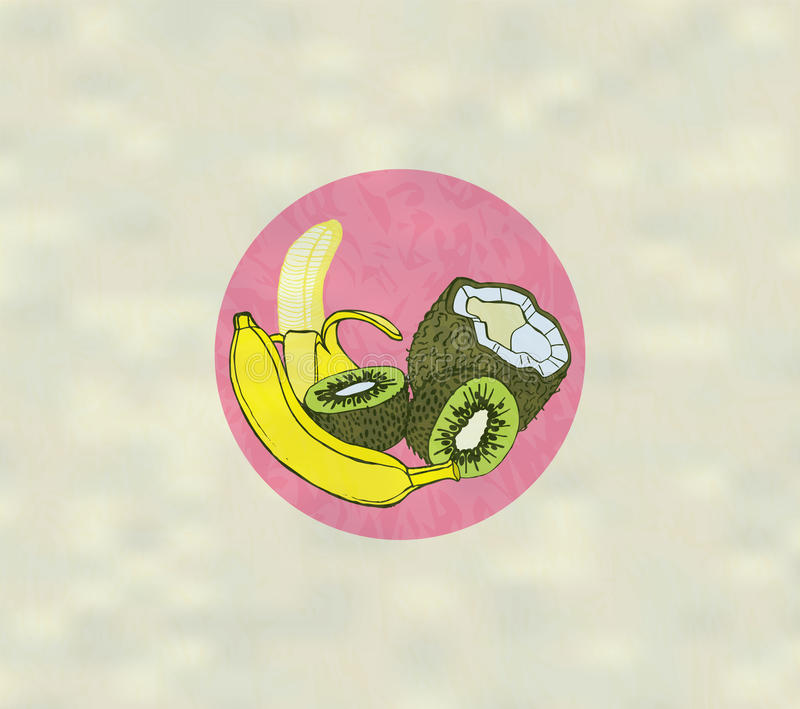 Exotic Fruits. Coconut, Kiwi and Banana stock illustration