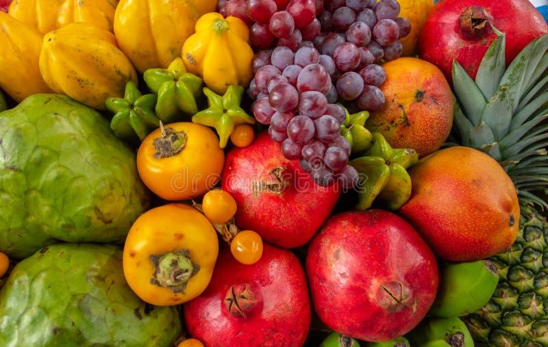 Exotic fruits display royalty free stock image