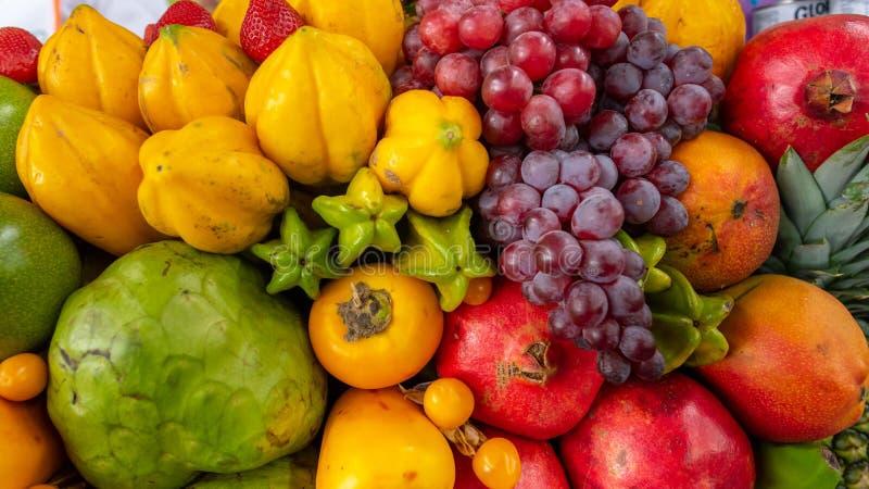 Exotic fruits display stock photos