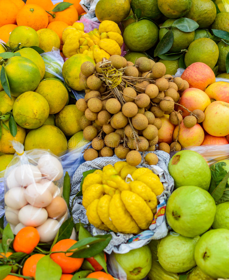 Exotic fruits and eggs stock photo