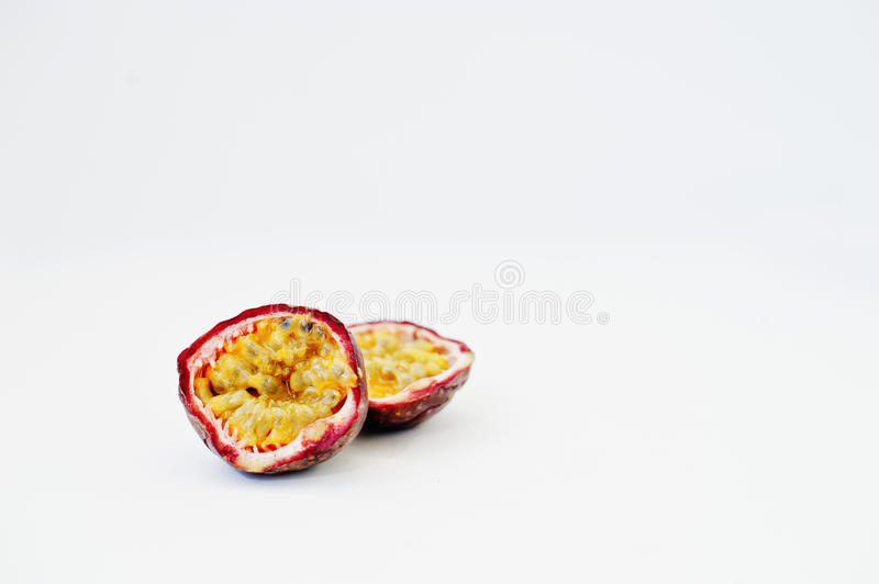 Exotic fruits passion fruit or maracuya Passiflora edulis. Isolated on white background. Healthy eating dieting food royalty free stock photos