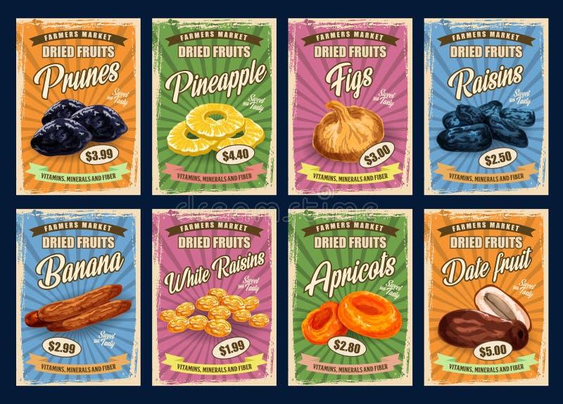 Dried fruits prunes, raisins, bananas. Exotic fruits, retro price cards. Vector prunes and pineapple slices, figs and raisins, dried bananas and white raisins vector illustration