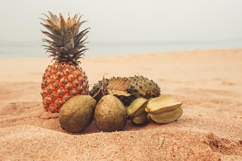 Exotic fruits on the gold sand. Exotic fruits on the sand near the ocean royalty free stock photography