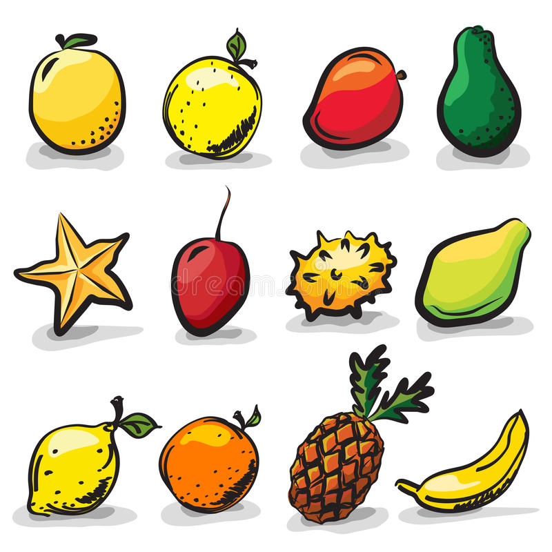 Exotic fruits sketch drawing set royalty free illustration