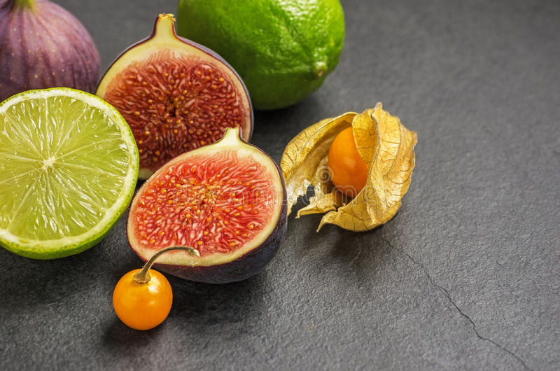 Download Exotic Fruits On Slate Plate Stock Image - Image: 26813057