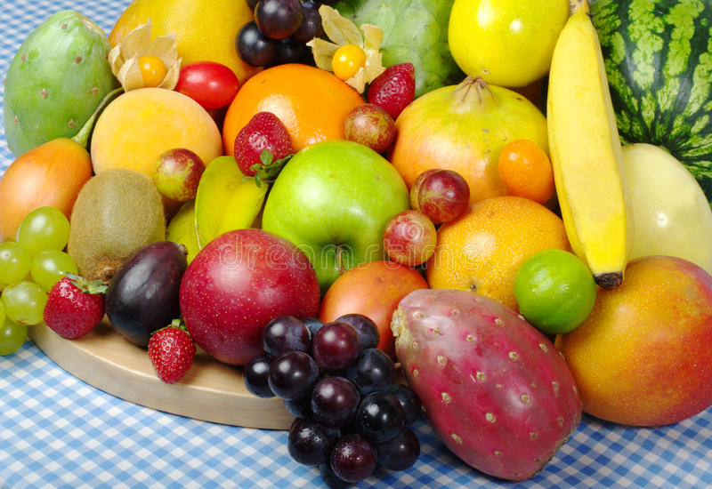 Download Exotic Fruits On Tablecloth Royalty Free Stock Images - Image: 13828339
