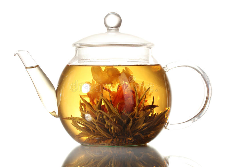Download Exotic Green Tea With Flowers In Glass Teapot Stock Photo - Image: 23860630
