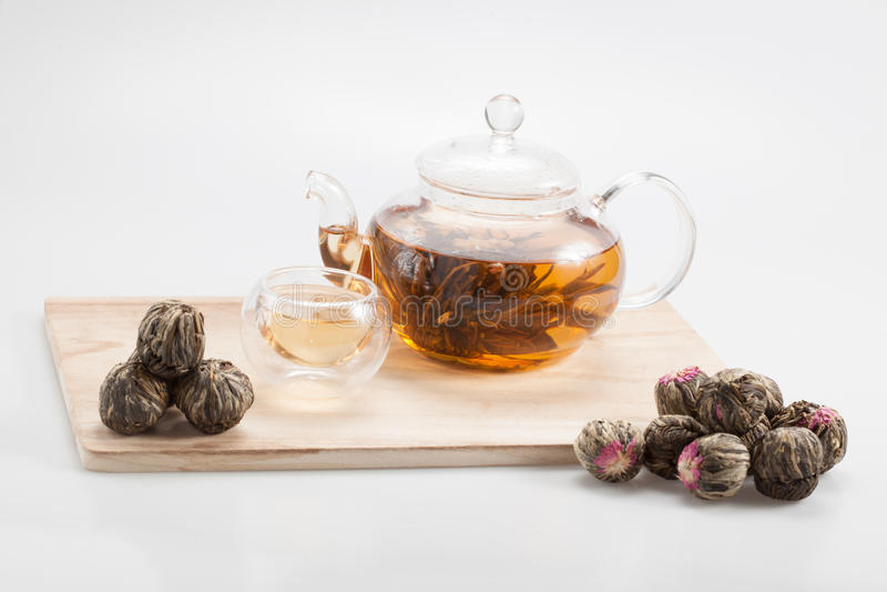 Exotic green tea glass teapot stock photography