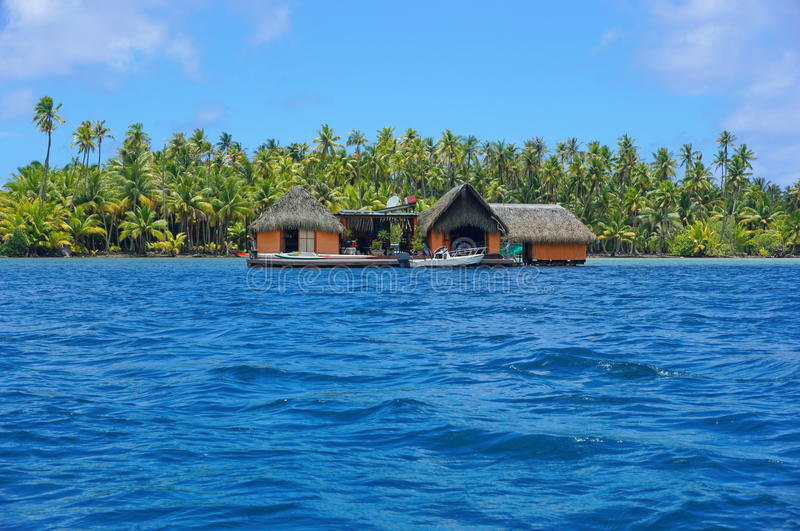 Exotic home over water Huahine French Polynesia stock images
