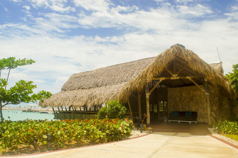 Exotic hut over the sea royalty free stock image