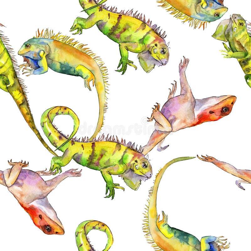 Exotic iguana wild animal. Watercolor background illustration set. Seamless pattern. Fabric wallpaper print texture. Exotic iguana wild animal in a watercolor vector illustration