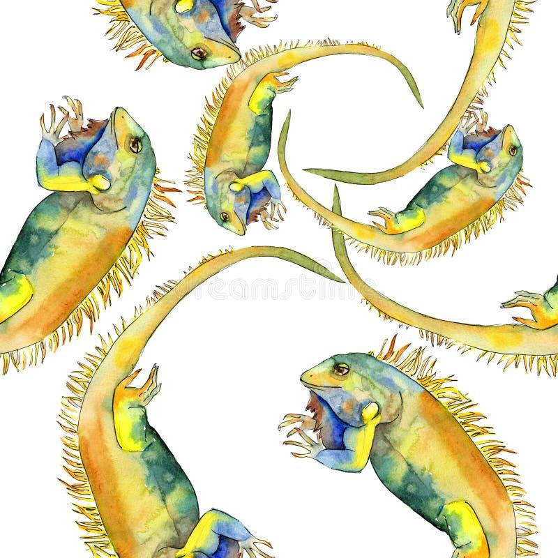 Exotic iguana wild animal. Watercolor background illustration set. Seamless pattern. Fabric wallpaper print texture. Exotic iguana wild animal in a watercolor royalty free illustration