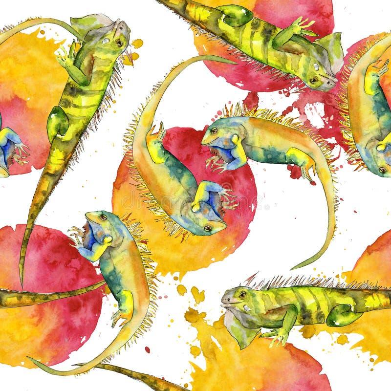Exotic iguana wild animal. Watercolor background illustration set. Seamless pattern. Fabric wallpaper print texture. Exotic iguana wild animal in a watercolor stock illustration
