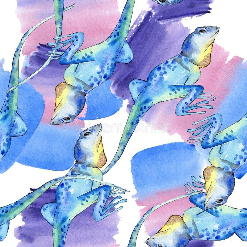 Exotic iguana wild animal. Watercolor background illustration set. Seamless background pattern. Exotic iguana wild animal. Watercolor background illustration stock photo