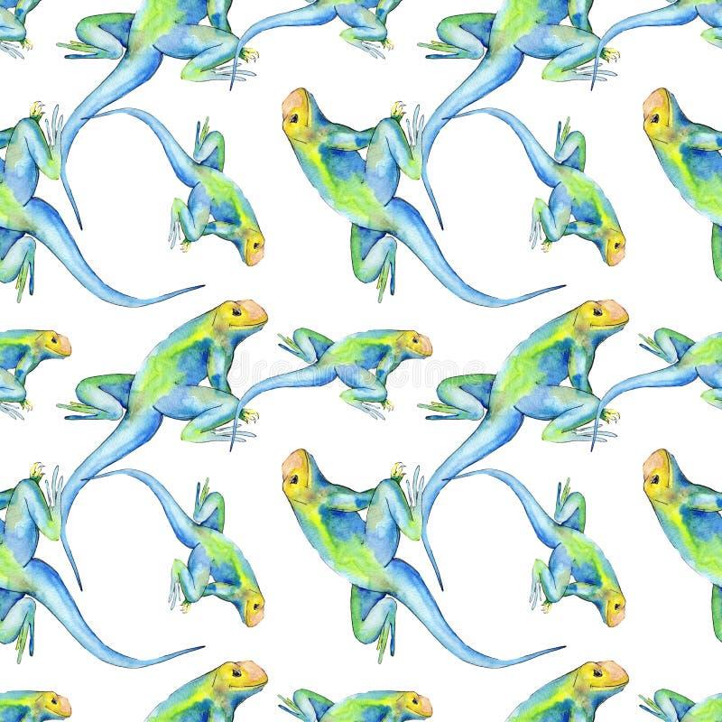 Exotic iguana wild animal. Watercolor background illustration set. Seamless background pattern. Exotic iguana wild animal. Watercolor background illustration stock photography