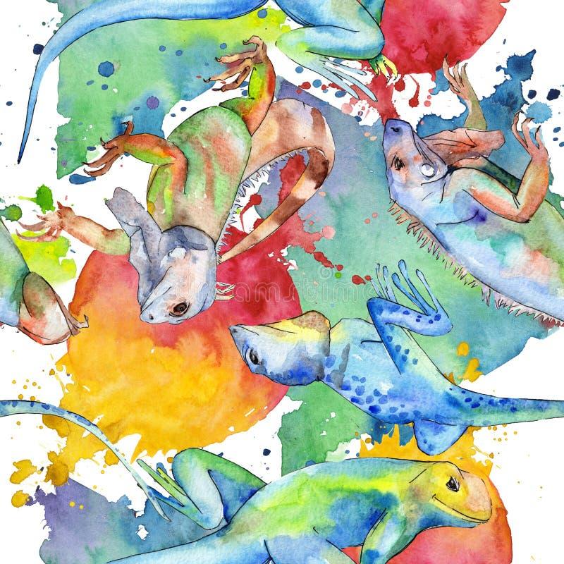 Exotic iguana wild animal. Watercolor background illustration set. Seamless background pattern. Exotic iguana wild animal. Watercolor background illustration stock photos