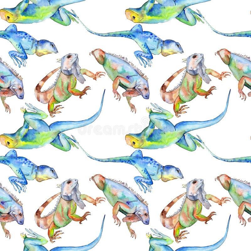 Exotic iguana wild animal. Watercolor background illustration set. Seamless background pattern. Exotic iguana wild animal. Watercolor background illustration royalty free stock photo
