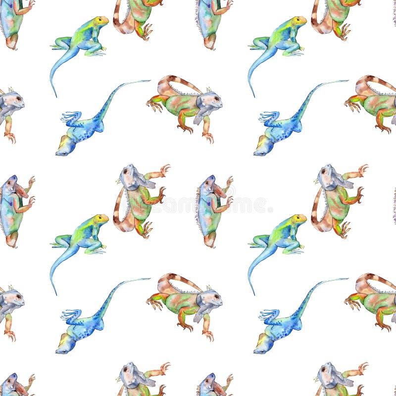 Exotic iguana wild animal. Watercolor background illustration set. Seamless background pattern. Exotic iguana wild animal. Watercolor background illustration royalty free stock image