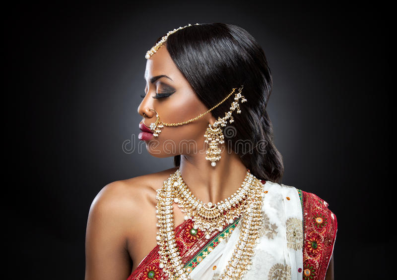 Exotic Indian bride dressed up for wedding royalty free stock photography
