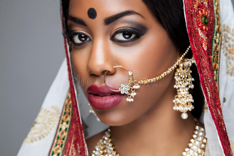 Exotic Indian bride dressed up for wedding stock photo