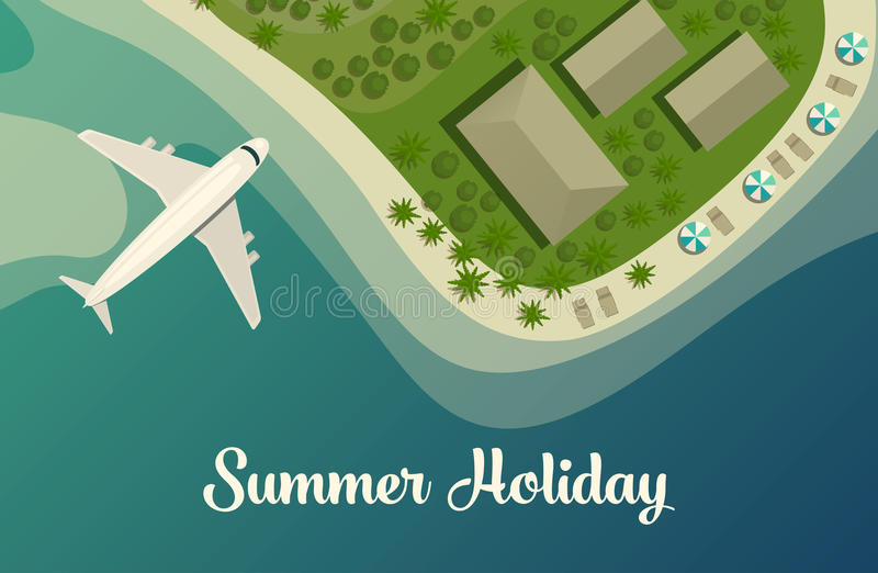 Exotic island with beach and bungalow, airplane. Tropical island beach or paradise isle top view with plane or jet aircraft, bungalow and umbrellas on beach vector illustration