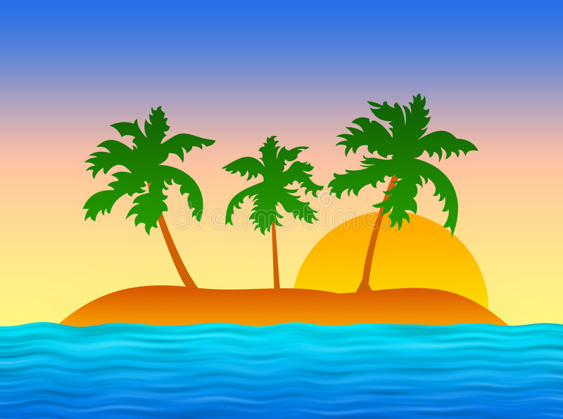 Exotic Island With Palms Royalty Free Stock Photos