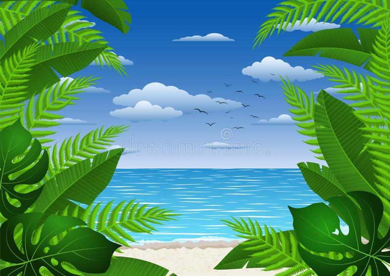 Exotic  landscape with  tropical plants. Seascape with leaves. Tourism and travelling. stock image