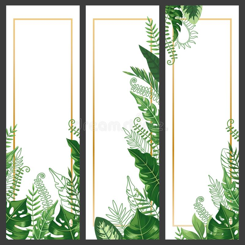 Exotic leaves banner. Tropical monstera leaf, palm branch and vintage hawaii nature plants vertical banners vector royalty free illustration