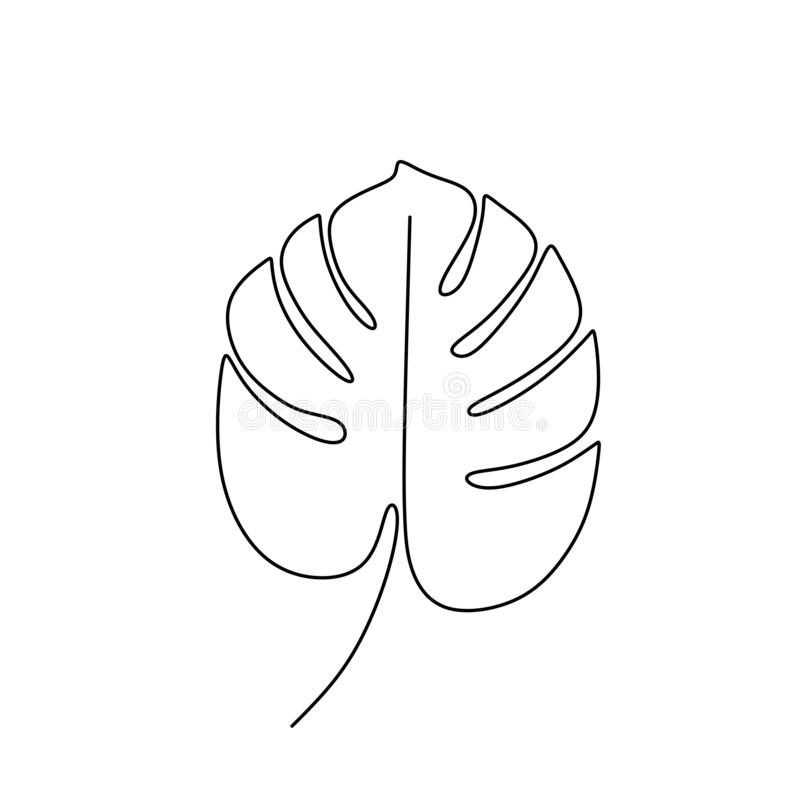 Exotic monstera continuous one line drawing summer tropical leaf hand drawn on white background minimalist design royalty free illustration